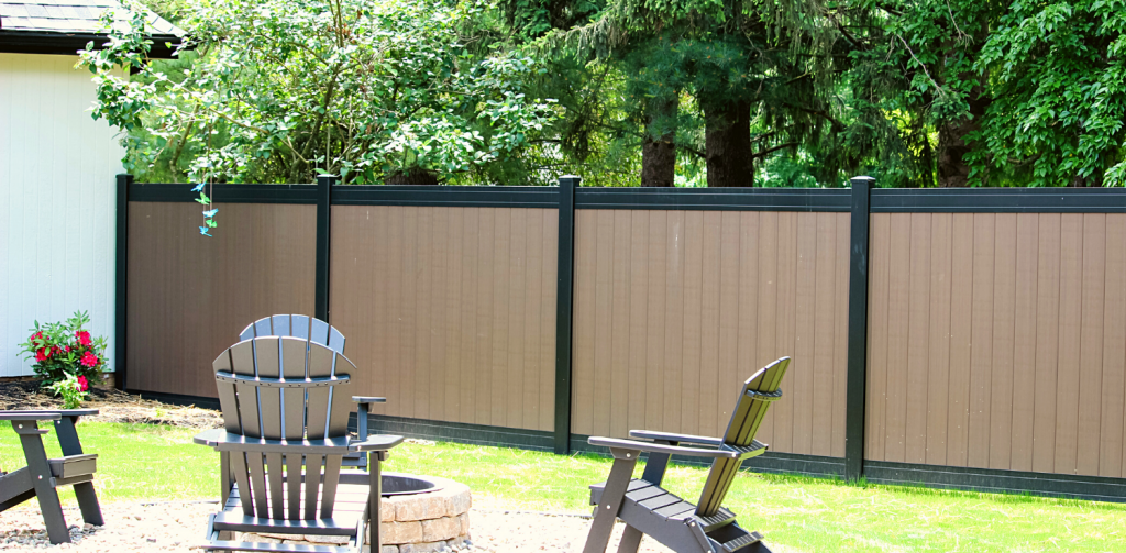 Backyard with brown fence