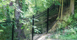 Aluminum picket fence installed on incline