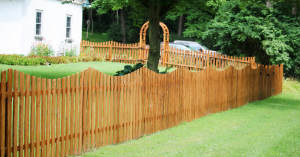 Cedar wood picket fence with arbor