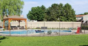 High fence around pool