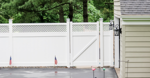 Tall privacy fence for driveway